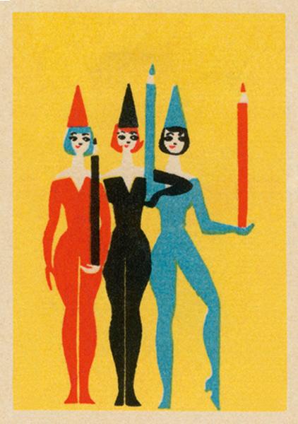 funky quirky unusual modern cool card cards greetings greeting original classic wacky contemporary art illustration fun vintage retro performers pencils art-press matchbox vintage jane mcdevitt