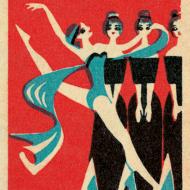 funky quirky unusual modern cool card cards greetings greeting original classic wacky contemporary art illustration fun vintage retro jane mcdevitt matchbox vintage art-press dancer scarf
