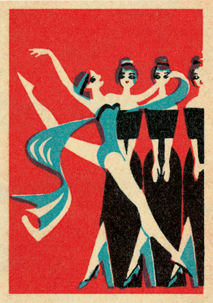 funky quirky unusual modern cool card cards greetings greeting original classic wacky contemporary art illustration fun vintage retro jane mcdevitt matchbox vintage art-press dancer scarf