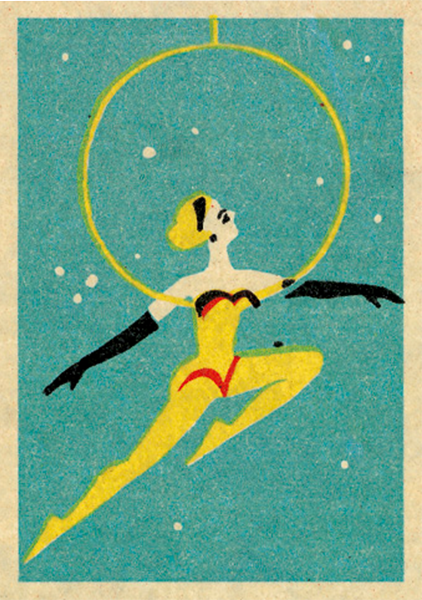 funky quirky unusual modern cool card cards greetings greeting original classic wacky contemporary art illustration fun vintage retro circus performer jane mcdevitt vintage matchbox art-press