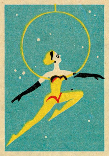 funky quirky unusual modern cool card cards greetings greeting original classic wacky contemporary art illustration fun vintage retro circus performer jane mcdevitt vintage matchbox art-press