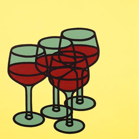 funky quirky unusual modern cool card cards greetings greeting original classic wacky contemporary art illustration fun vintage retro wine glasses patrick caulfield royal academy of arts art-press