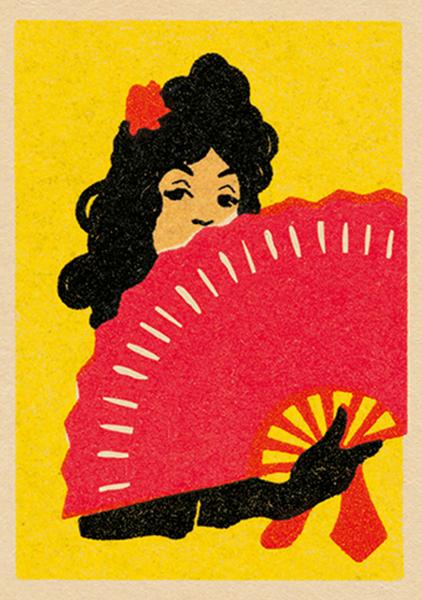 art-press fan lady matchbox vintage Jane mcdevitt funky quirky unusual modern cool card cards greetings greeting original classic wacky contemporary art illustration fun vintage retro