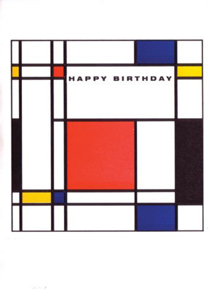 Birthday funky quirky unusual modern cool card cards greetings greeting original classic wacky contemporary art illustration fun vintage retro homage Mondrian Archivist-Cards