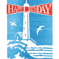 Birthday funky quirky unusual modern cool card cards greetings greeting original classic wacky contemporary art illustration fun vintage retro letterpress birthday lighthouse Archivist-Cards