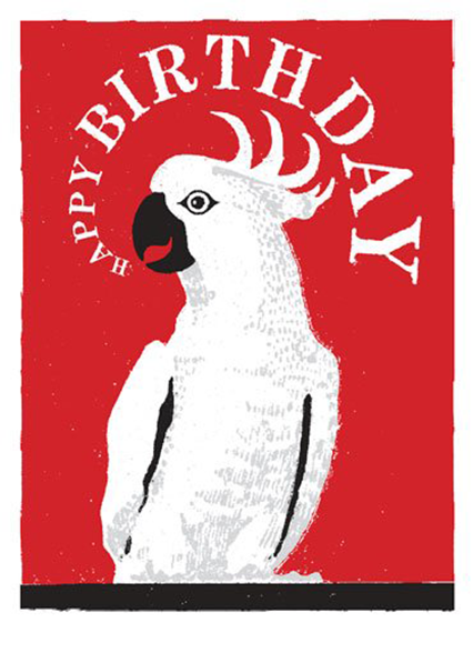 Birthday funky quirky unusual modern cool card cards greetings greeting original classic wacky contemporary art illustration fun vintage retro letterpress cockatoo Archivist-Cards birthday