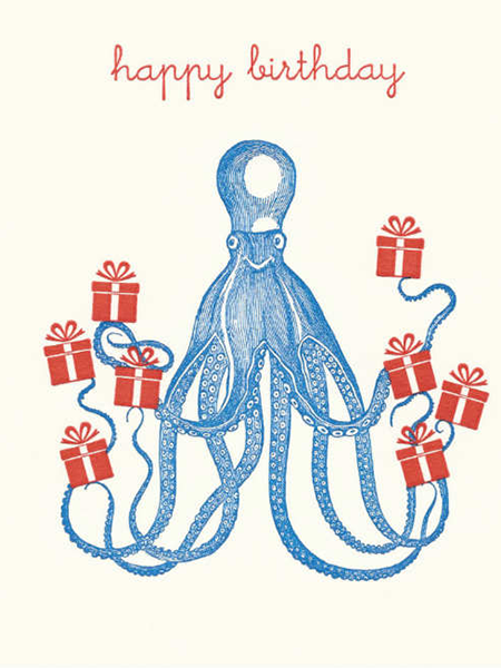 Birthday funky quirky unusual modern cool card cards greetings greeting original classic wacky contemporary art illustration fun vintage retro letterpress octopus squid birthday Archivist-Cards
