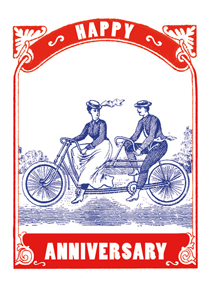 Funky quirky unusual modern cool card cards greetings greeting original classic wacky contemporary art illustration fun vintage retro letterpress Archivist-Cards tandem bicycle anniversary