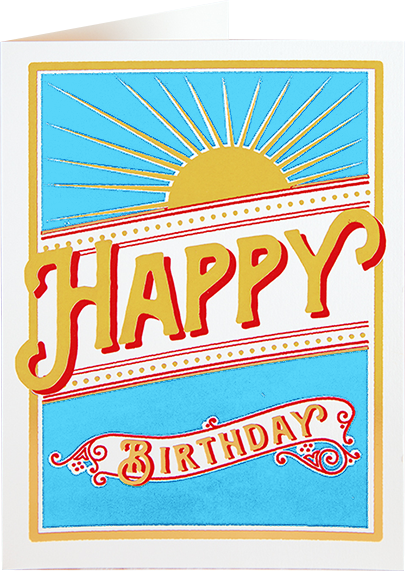 Birthday funky quirky unusual modern cool card cards greetings greeting original classic wacky contemporary art illustration fun vintage retro letterpress birthday sunburst Archivist-Cards