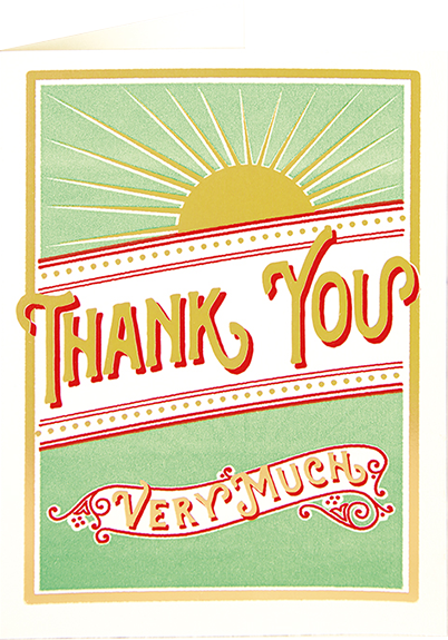 funky quirky unusual modern cool card cards greetings greeting original classic wacky contemporary art illustration fun vintage retro letterpress sunburst sun thank you Archivist-Cards sunburst