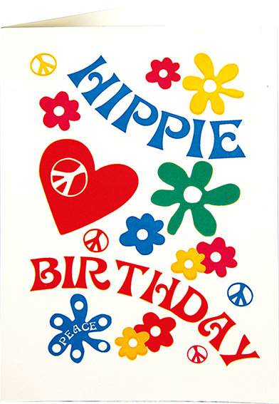 Birthday funky quirky unusual modern cool card cards greetings greeting original classic wacky contemporary art illustration fun vintage retro letterpress hippie hippy birthday Archivist-Cards