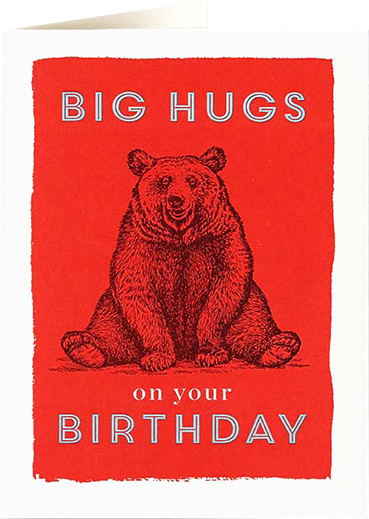 Birthday funky quirky unusual modern cool card cards greetings greeting original classic wacky contemporary art illustration fun vintage retro letterpress bear hugs birthday Archivist-Cards