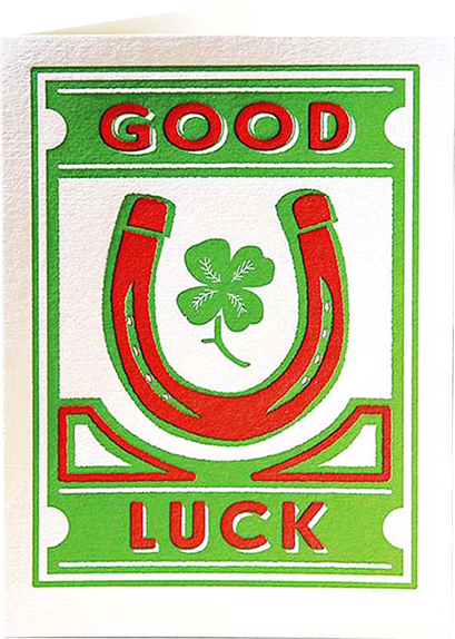 Birthday funky quirky unusual modern cool card cards greetings greeting original classic wacky contemporary art illustration fun vintage retro letterpress horseshoe clover good luck Archivist-Cards
