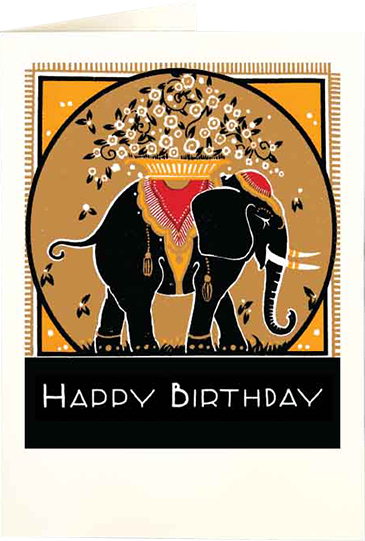Birthday funky quirky unusual modern cool card cards greetings greeting original classic wacky contemporary art illustration fun vintage retro letterpress gold elephant birthday Archivist-Cards