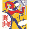 Birthday funky quirky unusual modern cool card cards greetings greeting original classic wacky contemporary art illustration fun vintage retro letterpress drums drummer birthday Archivist-Cards