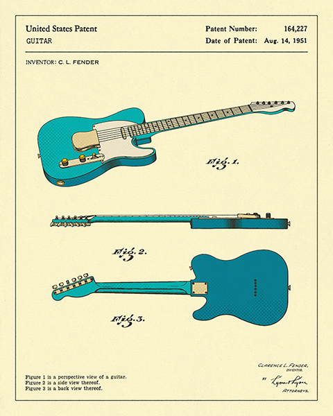 funky quirky unusual modern cool card cards greetings greeting original classic wacky contemporary art illustration photographic guitar east-end-prints jazzbury-blue patent art