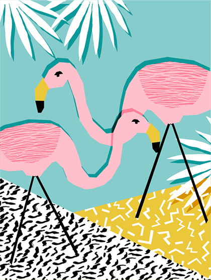 funky quirky unusual modern cool card cards greetings greeting original classic wacky contemporary art illustration photographic flamingo wacka-designs east-end-prints art