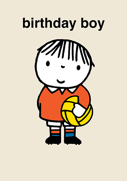 dick-bruna miffy birthday boy football kids book retro vintage funky quirky unusual modern cool card cards greetings greeting original classic wacky contemporary art illustration photographic