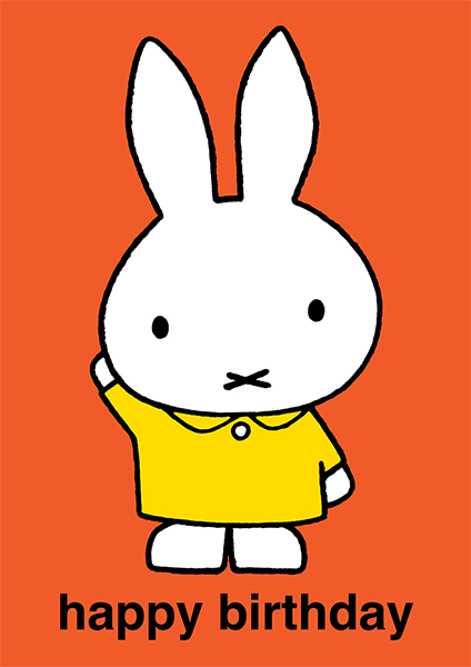 bunny rabbit funky quirky unusual modern cool card cards greetings greeting original classic wacky contemporary art illustration photographic vintage retro kids book miffy dick-bruna birthday kids hype-cards