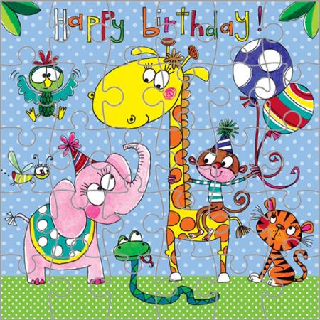 rachel ellen jigsaw birthday kids jungle animals balloons elephant monkey giraffe tiger snake parrot funky quirky unusual modern cool card cards greetings greeting original classic wacky contemporary art illustration fun cute kid children