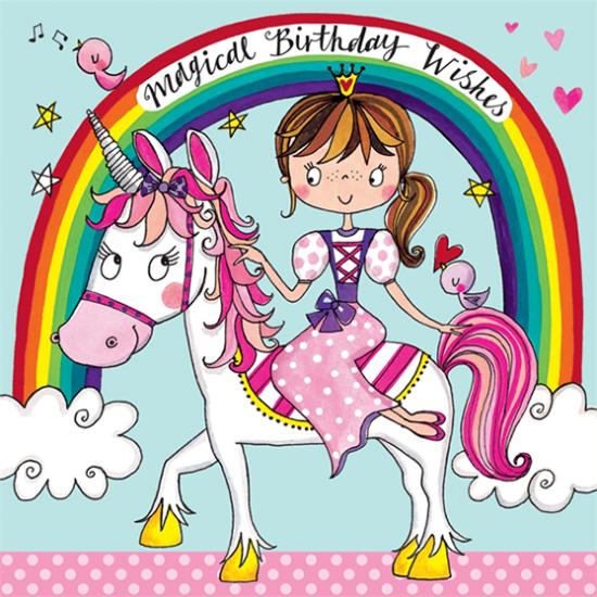 kids birthday rachel ellen cute unicorn jigsaw funky quirky unusual modern cool card cards greetings greeting original classic wacky contemporary art illustration fun kid children