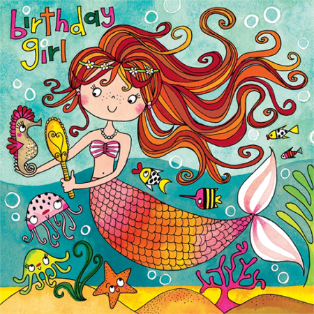 kids birthday mermaid jigsaw Rachel ellen funky quirky unusual modern cool card cards greetings greeting original classic wacky contemporary art illustration fun cute kid children