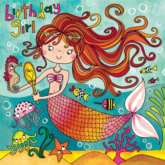kids birthday mermaid jigsaw Rachel ellen funky quirky unusual modern cool card cards greetings greeting original classic wacky contemporary art illustration fun cute kid children
