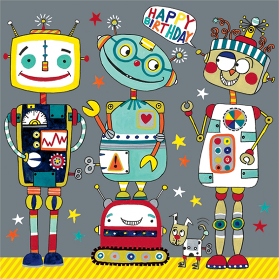 funky quirky unusual modern cool card cards greetings greeting original classic wacky contemporary art illustration fun cute rachel ellen jigsaw robot kids birthday