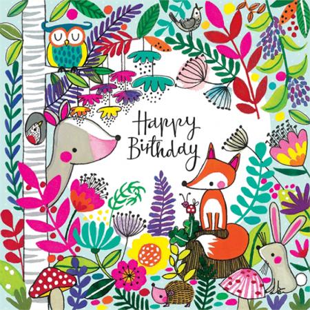 rachel ellen jigsaw woodland kids birthday funky quirky unusual modern cool card cards greetings greeting original classic wacky contemporary art illustration fun cute