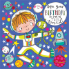 funky quirky unusual modern cool card cards greetings greeting original classic wacky contemporary art illustration fun cute spaceman birthday rachel ellen kids birthday jigsaw kid astronaut space rocket moon