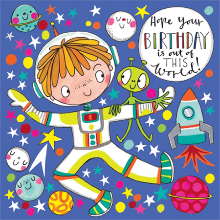funky quirky unusual modern cool card cards greetings greeting original classic wacky contemporary art illustration fun cute spaceman birthday rachel ellen kids birthday jigsaw kid astronaut space rocket moon
