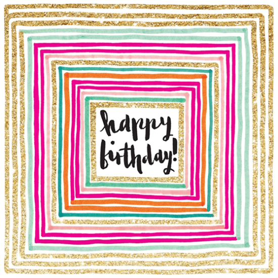 funky quirky unusual modern cool card cards greetings greeting original classic wacky contemporary art illustration fun cute glitter gold neon happy birthday square flitter sparkling gold rachel ellen