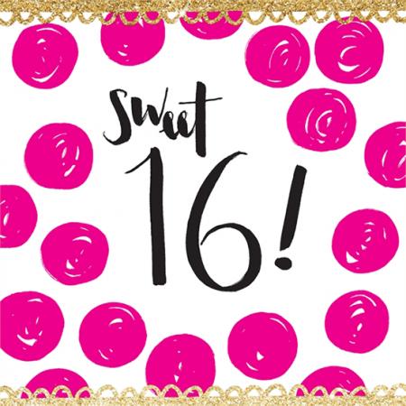 16 sixteen sweet sixteenth 16th birthday rachel ellen spots gold flitter sparkling