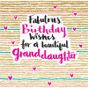 fabulous birthday wishes granddaughter rachel ellen gold sparkling flitter beautiful funky quirky unusual modern cool card cards greetings greeting original classic wacky contemporary art illustration fun cute glitter gold neon
