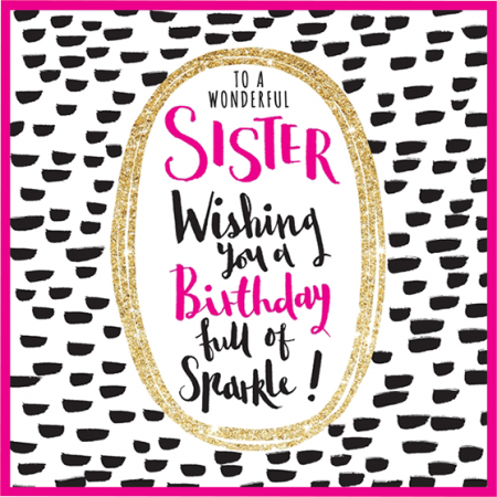 sister birthday sparkle sparkling gold flitter Rachel ellen funky quirky unusual modern cool card cards greetings greeting original classic wacky contemporary art illustration fun cute glitter gold neon