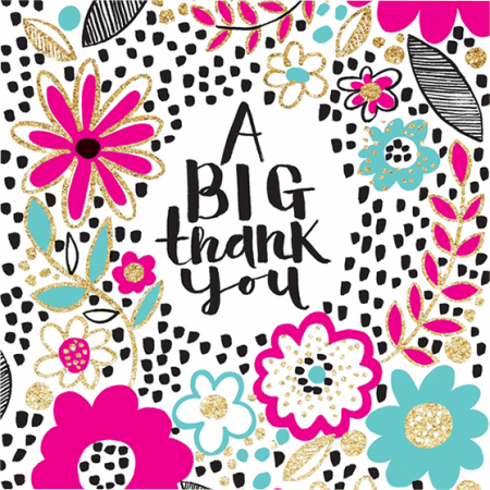thank you rachel ellen flitter gold sparkling flowers funky quirky unusual modern cool card cards greetings greeting original classic wacky contemporary art illustration fun cute glitter neon