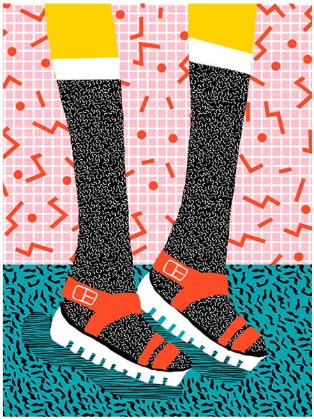 funky quirky unusual modern cool card cards greetings greeting original classic wacky contemporary art illustration photographic wacka-designs east-end-prints sandals kicks