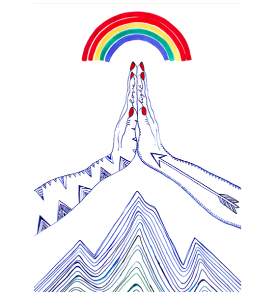 east-end-prints Zakee-shariff praying hands rainbow tattoo spiritual funky quirky unusual modern cool card cards greetings greeting original classic wacky contemporary art illustration
