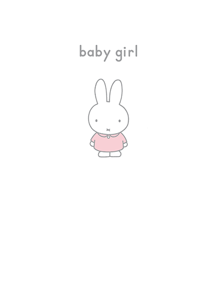 bunny rabbit funky quirky unusual modern cool card cards greetings greeting original classic wacky contemporary art illustration photographic vintage retro kids book miffy dick-bruna hype=cards new baby girl