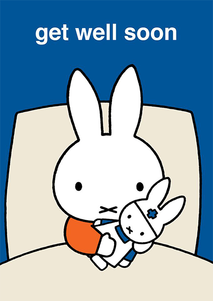 funky quirky unusual modern cool card cards greetings greeting original classic wacky contemporary art illustration photographic vintage retro kids book bunny rabbit miffy dick-bruna hype-cards get well soon