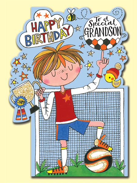 funky quirky unusual modern cool card cards greetings greeting original classic wacky contemporary art illustration fun cute football grandson birthday Rachel-ellen kids boy kid