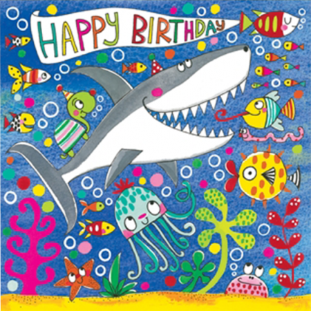funky quirky unusual modern cool card cards greetings greeting original classic wacky contemporary art illustration fun cute birthday shark jigsaw Rachel Ellen kids