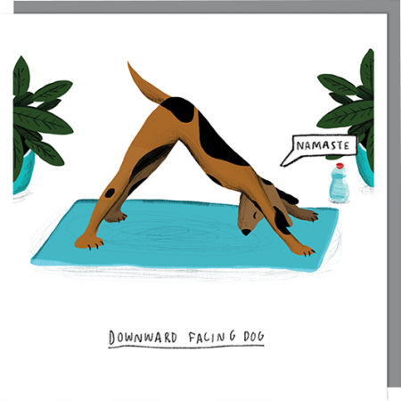Birthday funky quirky unusual modern cool card cards greetings greeting original classic wacky contemporary art illustration fun vintage retro funny toasted yoga dog downward facing u-studio funny