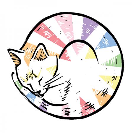funky quirky unusual modern cool card cards greetings greeting original classic wacky contemporary art illustration photographic vintage retro David-j-bennett Brighton cat rainbow circle linocut