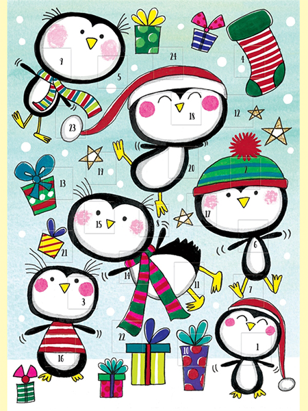 funky quirky unusual modern cool card cards greetings greeting original classic wacky contemporary art illustration photographic distinctive vintage retro Rachel-ellen cute kids Christmas xmas advent calendar penguins penguin