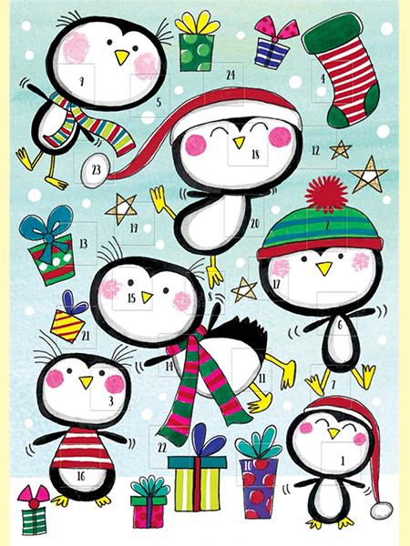 funky quirky unusual modern cool card cards greetings greeting original classic wacky contemporary art illustration photographic distinctive vintage retro Rachel-ellen cute kids Christmas xmas advent calendar penguins penguin