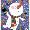 dancing snowman funky quirky unusual modern cool card cards greetings greeting original classic wacky contemporary art illustration photographic distinctive vintage retro Rachel-ellen cute kids Christmas xmas advent calendar