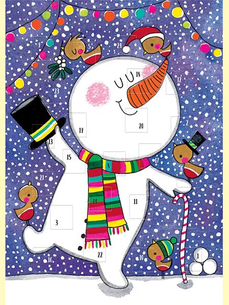 dancing snowman funky quirky unusual modern cool card cards greetings greeting original classic wacky contemporary art illustration photographic distinctive vintage retro Rachel-ellen cute kids Christmas xmas advent calendar