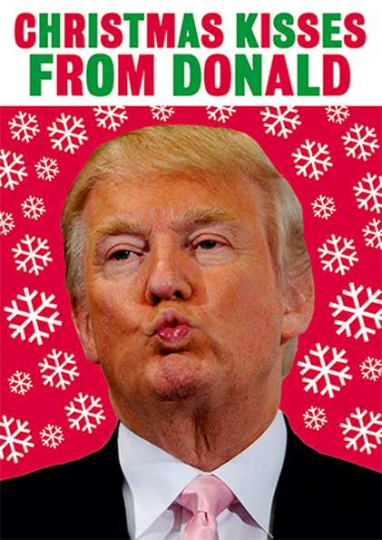 funky quirky unusual modern cool card cards greetings greeting original classic wacky contemporary art photographic fun vintage retro funny humorous dean-morris Christmas xmas Donald-trump kisses