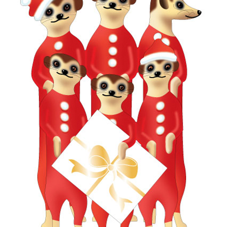 funky quirky unusual modern cool card cards greetings greeting original classic wacky contemporary art illustration photographic distinctive Christmas xmas special-delivery cute animals 3D cut-out meerkats Santa Kats